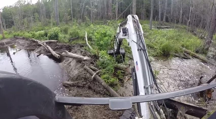 Beaver Dam Ford >> Busting A Beaver Dam! Mini Bobcat Excavator Mud Stuck Water Creek