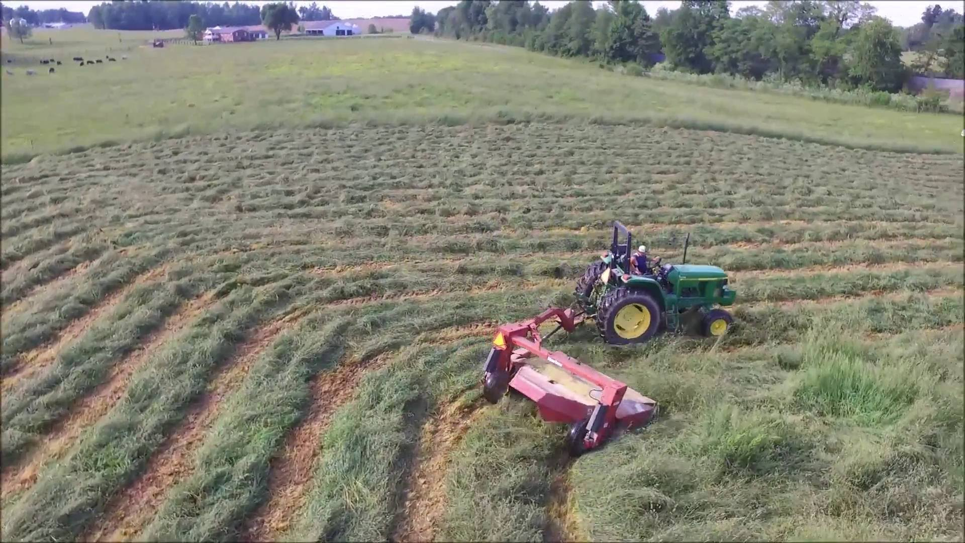 Mowing Hay With John Deere 6210 And 6420 Mowing A Pasture
